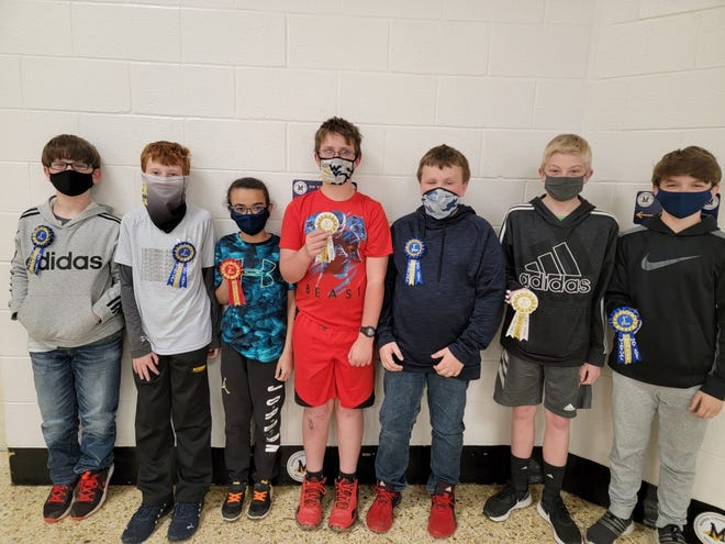 Pictured are Keyser Middle School winners at the recent Virtual Math Field Day Event held on Thursday, April 22.Grade level competitions were held for fifth through 12th graders in the county:Fifth graders Don Starcher and Uriah Swick (tied for first place), Braylen Blowe (second place), River Cameron (third place), sixth grader Kohl Shobe (first place),seventh graders Isaac Jones (third place), and Owen Rotruck (first place).