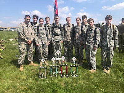 Moberly High School JROTC student cadets finished third at an April 24 event held at the Missouri National Guard Training Center in Macon.