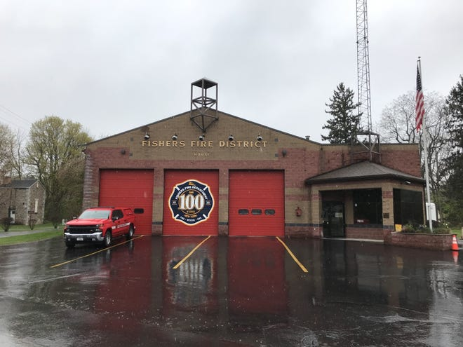 To celebrate the volunteer firefighting department's centennial, the Fishers Fire District commissioned a new logo, according to department Historian and former District Chief Joel Richter, displayed here on the district station at 7853 Main St. Fishers.
