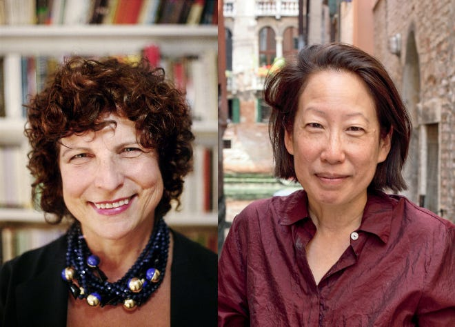 Portraits of Dr. Suzanne Koven, left, and Gish Jen.