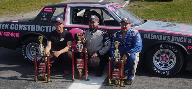 Kristopher Knox, center, of Sanford, Maine picked up the first win of the year in the Slingshot division at Star Speedway last weekend over Jason Gammon, left, and Brick Ramsey, right.
