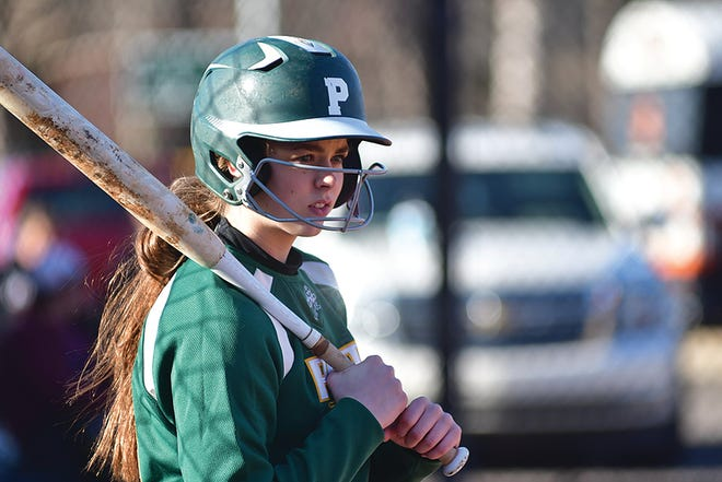 Pratt High School softball player Rachel Rasmussen gets ready to take a pitch at a recent Greenback competition versus Hesston. The Lady Greenbacks won the double-header with a sweeping score of 18-3 in both games behind a focused offense.