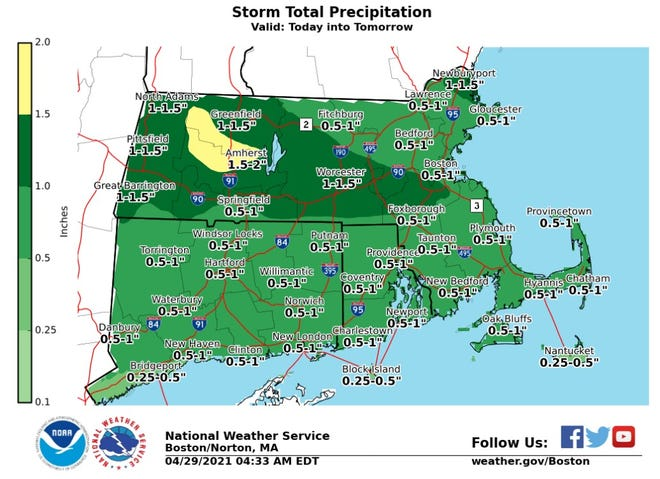 Rhode Island could get up to an inch of rain Thursday into Friday, the National Weather Service says.