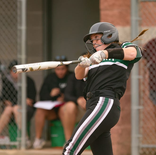 Aurora's McKennah Metzger connects for a long home run over the left-field fence to bring the Greenmen within one run of Highland in the fifth inning.
