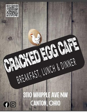 """Cracked Egg Cafe opened late last month in Plain Township and serves unique breakfast items such as a pancake sandwich, chipped chop ham and eggs and the """"train wreck."""" Lunch and dinner items also are served."""