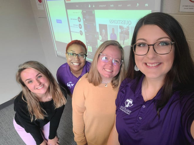 Senior Tarleton State University students Shayla Palow, Zondria Horne, Lydia Burns and Victoria Lindsey (pictured left to right) were accepted to present at the National Council of Undergraduate Research Conference in April. They presented on their research about homebound elders in rural communities. Their community partner agency is Meals on Wheels of Erath County and their community partner is Elizabeth Johnson.