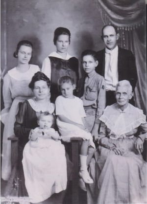Kate Prime, first row left, surrounded by her children Anne, Katherine, Ben, Rose and Alice; her husband, George; and her mother-in-law, Amelia Prime.
