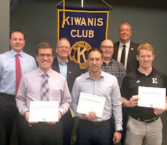 Front row,  Aaron Miller, Marcus Gauthier and Jack Scheske. Back row, Brian Oswald, Eric Scheske, Randy Pahls and Kiwanis president Eric Wynes.