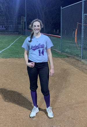 Burlingame's Alexandra Crook is 5-1 with 62 strikeouts for the 11-3 Bearcats this season and also is hitting .457.