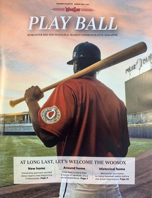 The cover of a commemorative magazine about the WooSox' anticipated arrival in Worcester will hit newsstands Sunday.