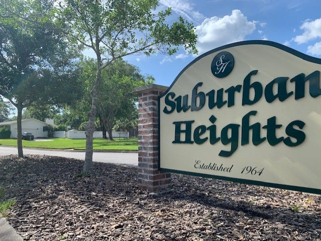 The entrance sign for the Suburban Heights neighborhood in northwest Gainesville.