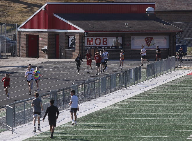 The track at Woody Hayes Quaker Stadium gets plenty of use in the spring by the school's track and field teams.