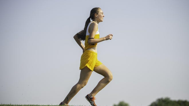 Pueblo East's Crystal Armijo runs on the campus of Pueblo South High School during the South Tri-Meet cross country race Aug. 21, 2020.