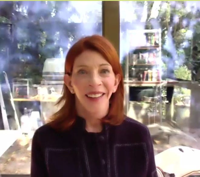Best-selling author Susan Orlean is shown in a screenshot while taking part in the Bexley Community Author Series eventApril 27.