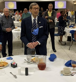 """Harry Silver, 99, is the recipient of the 2021 Service Above Self Award from the Rotary Club of Alexandria. """"It was a complete and total secret,"""" he said.""""I think it was one of the most refreshing things that has ever happened to me."""""""