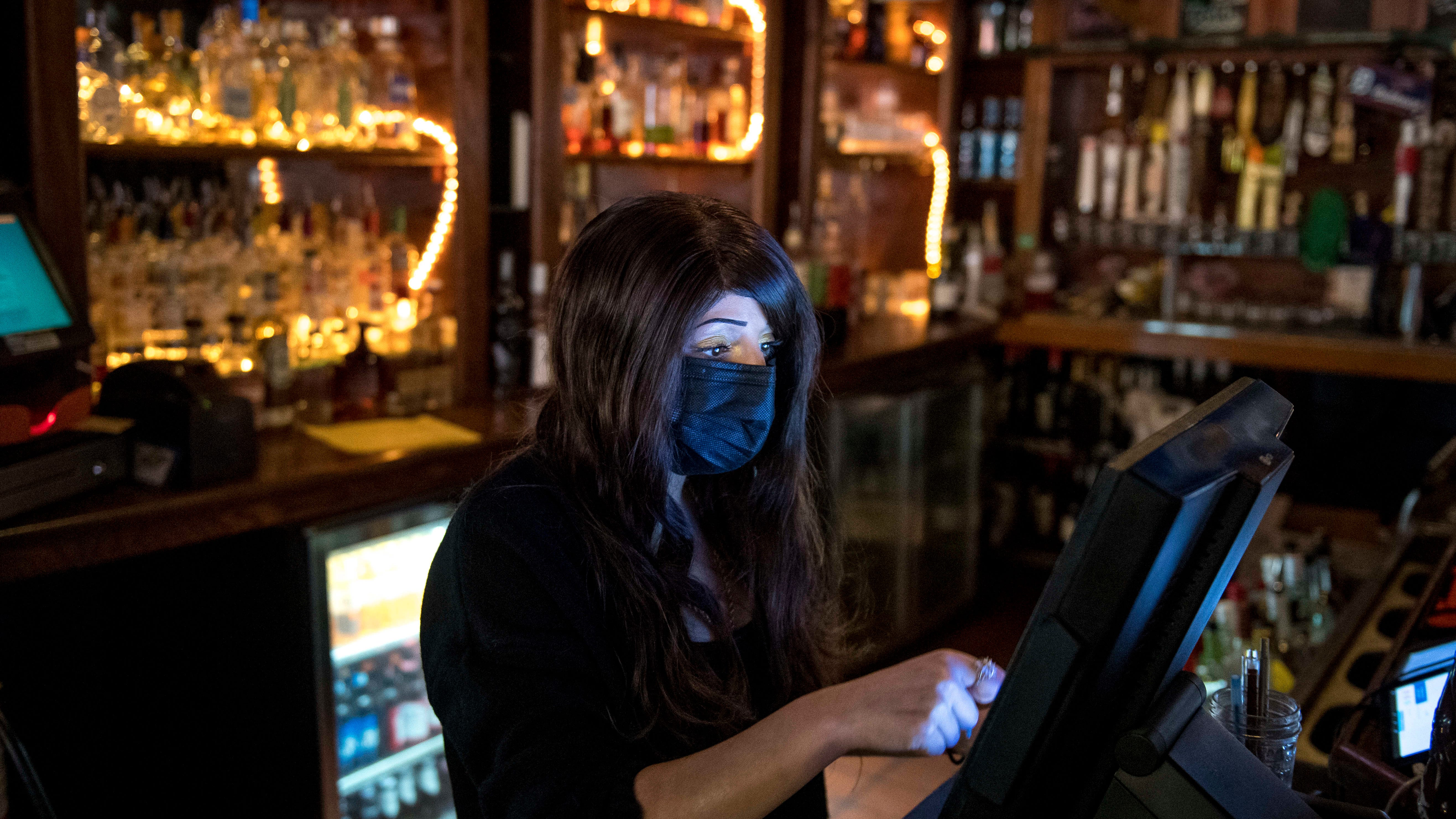 Ericka Torres of Livonia puts in an order at McShane's Irish Pub & Whiskey Bar in Detroit on Thursday, April 29, 2021.
