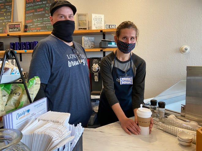 Manager Christopher Reed and Kendra Amborski fill an order at Christy's Corner Cafe, in Elmore. The Cafe received a RISE grant in 2020.