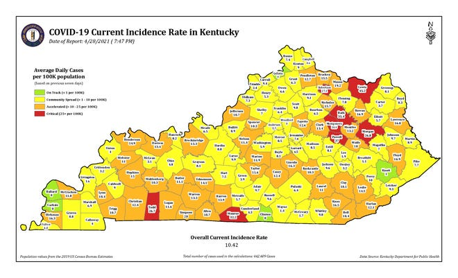 The COVID-19 current incidence rate map for Kentucky as of Wednesday, April 28.
