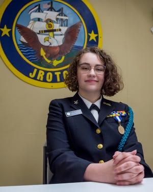 PO2 Sydney Liles  is a Cadet in the NJROTC program at Ovey Comeaux High School. Wednesday, April 28, 2021.
