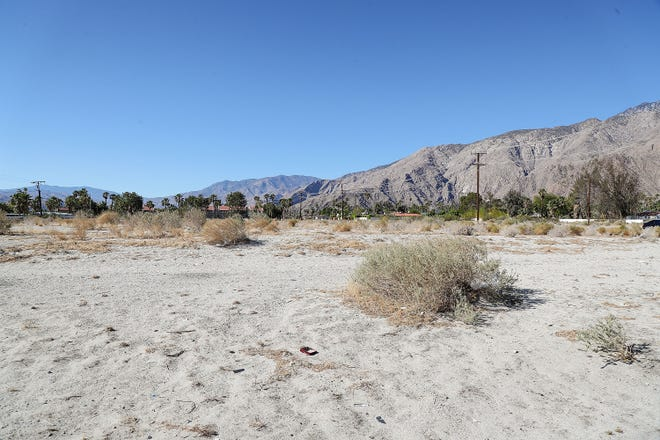 This vacant parcel of land at the intersection of San Rafael Rd. and Indian Canyon Dr. is slated to be developed and turned into Monarch Apartment Homes, a 60-unit affordable housing community in Palm Springs, April 29, 2021.