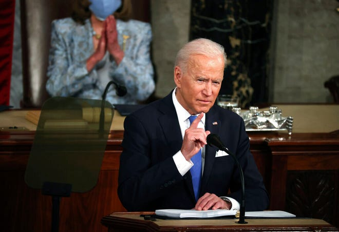 President Joe Biden addresses a joint session of Congress, Wednesday, April 28, 2021, in the House Chamber at the U.S. Capitol in Washington. (Chip Somodevilla/Pool via AP)