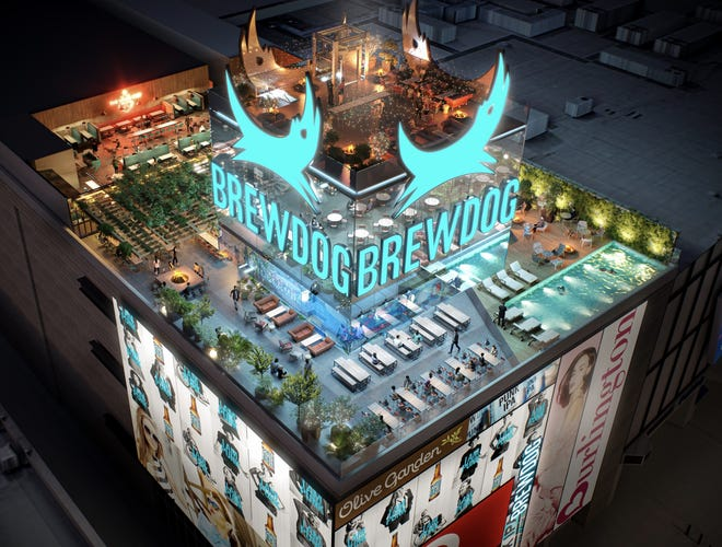 BrewDog has signed a lease for a rooftop brewery and pub on The Strip. The space above Showcase Mall will include an urban forest, onsite brewery, secret event space and retro game zone, the Scottish company announced on Twitter Thursday.