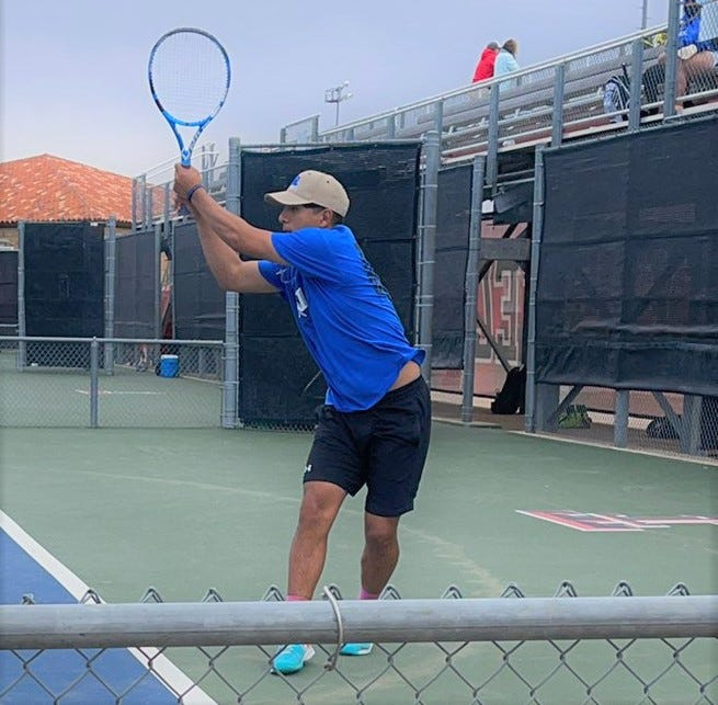 San Angelo Lake View High School boys singles player Erick Torres competed at the Region I-4A Tournament in Lubbock on Wednesday, April 28, 2021.