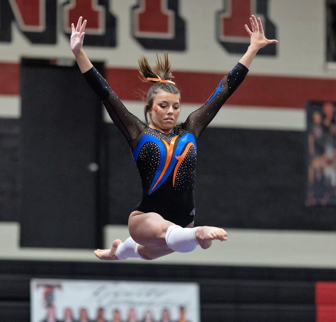 San Angelo Central High School's Jadyn Sawyer competes on balance beam during Day 1 of the Texas High School Gymnastics Championships at Euless on Wednesday, April 28, 2021.