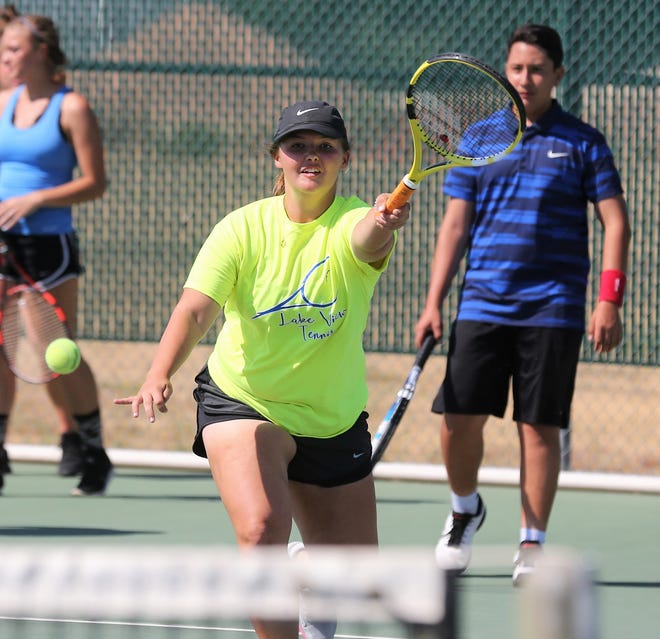 San Angelo Lake View High School tennis player Madison Goetz is shown during practice in 2019. Goetz and Veronica Morales dropped their first-round match at the Region I-4A Tournament in Lubbock on Wednesday.