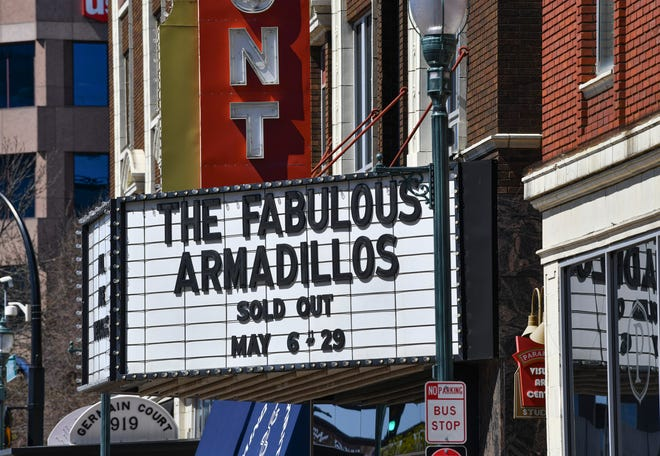 The marquee at the Paramount Center for the Arts is pictured Thursday, April 29, 2021, in St. Cloud.