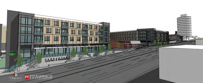 A rendering of a proposed affordable housing complex included as part of a proposal to transform an entire city block at the corner of Tennessee and Macomb streets near Frenchtown.