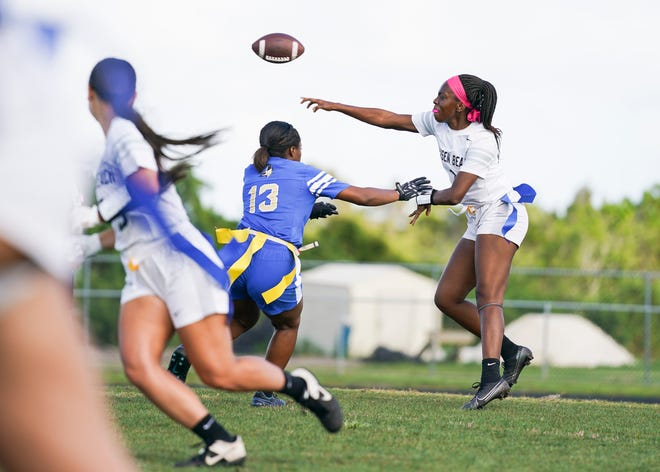 Jensen Beach's Ja'Shya Christie threw three touchdowns to lead the Falcons to a 26-0 win over Dillard on Monday, May 3, 2021 to help her team advance to the 1A state semifinals.