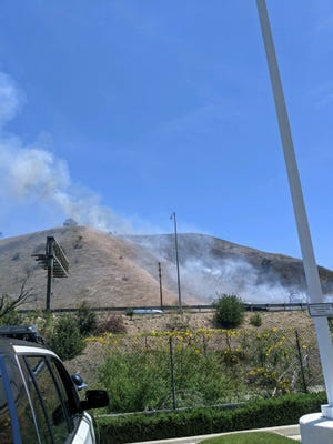 This was the scene of a brush fire burning near Highway 101 in Calabasas on Thursday afternoon.