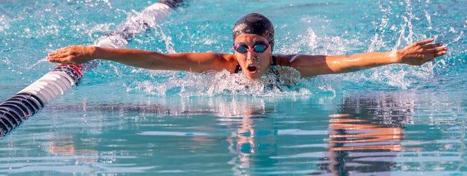 Girls 100 Butterfly. Redwood hosts Hanford on Wednesday, April 28, 2021 in a West Yosemite League high school swim meet.