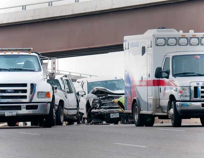 Wichita Falls emergency responders worked the scene of a reported head-on collision Wednesday night on Central Freeway southbound over Galveston Street.