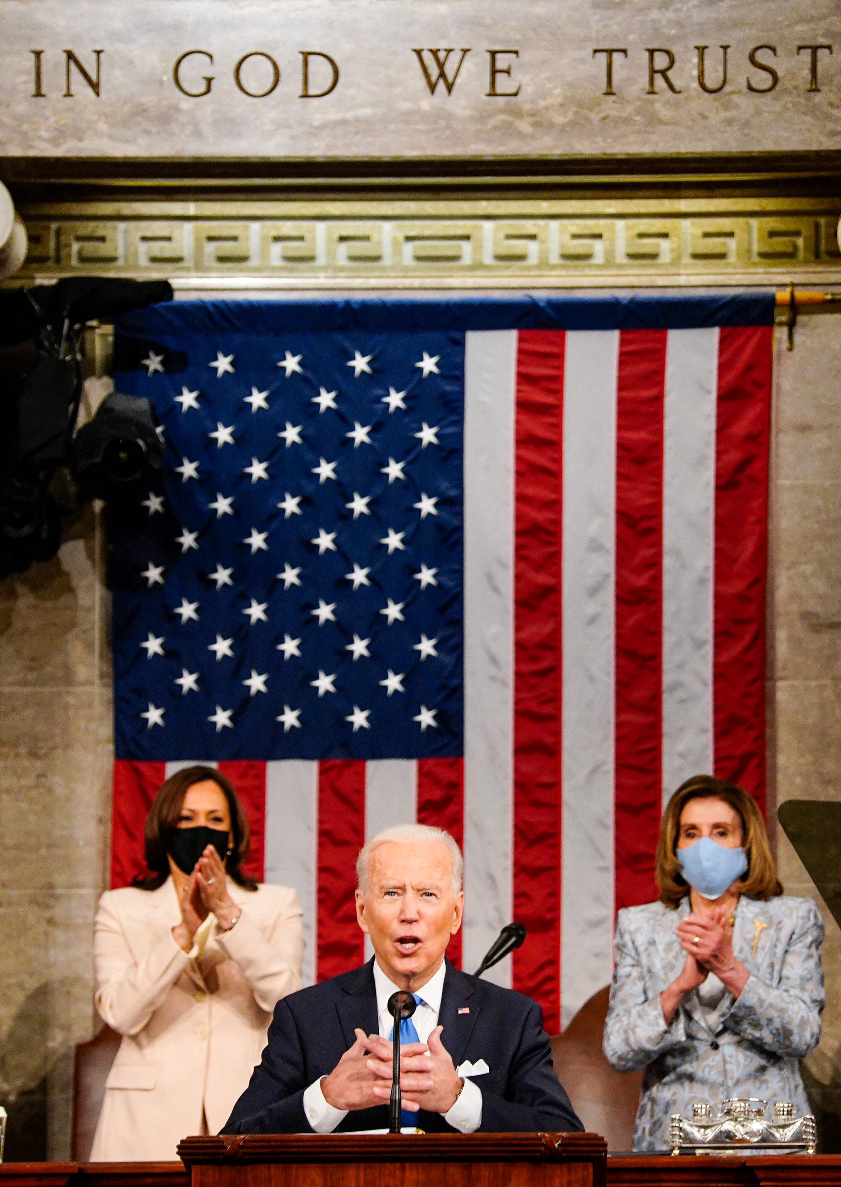 Fact check: Image falsely claims to show Harris and Pelosi sleeping during Biden s speech to Congress