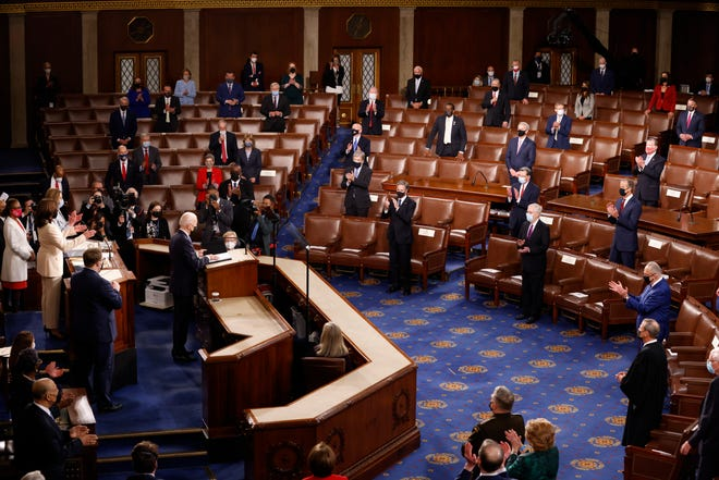 President Joe Biden arrives to address a joint session of Congress, Wednesday at the U.S. Capitol in Washington.