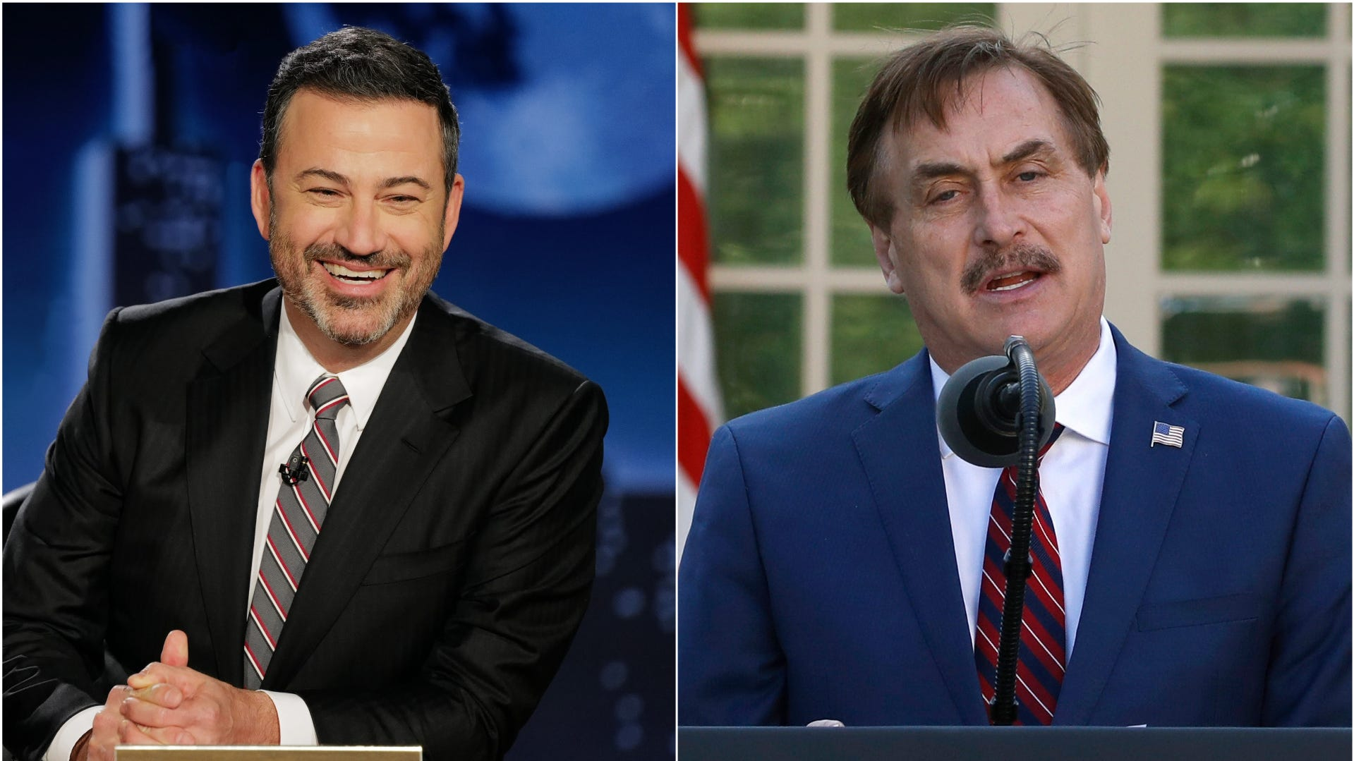 "Jimmy Kimmel hosted MyPillow CEO Mike Lindell on ""Jimmy Kimmel Live!"" on April 28, 2021."