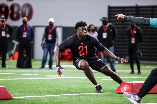 Georgia outside linebacker Azeez Ojulari (13) during Georgia's 2021 NFL Pro Day inside the William Porter Payne and Porter Otis Payne Indoor Athletic Facility on Wednesday, March 17, 2021. (Photo by Tony Walsh)