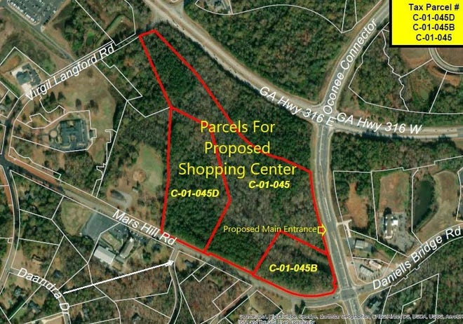 A proposed shopping center in the Oconee Connector area includes a Publix supermarket, two hotels, a bank, an auto sales lot, a gas station, at least three restaurants and other retail outlets. [Lee Becker graphic]