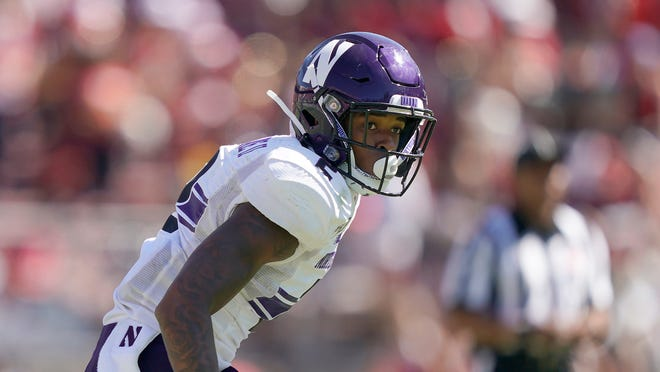 Northwestern defensive back Greg Newsome II (2) believes he is not only the best cornerback in the NFL Draft but the best overall player. [Tony Avelar/Associated Press]