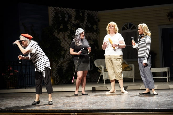"""Ruthellen Cunnally, Tammy Sposeto, Jenn Peter and Barbara Gerlock perform a scene on stage at Stephens Auditorium in ACTORS's production of """"The Savannah Sipping Society."""" ACTORS and Stephens Auditorium received an Iowa Tourism award for their collaboration during the pandemic."""