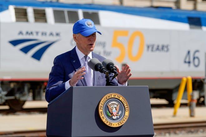 President Joe Biden speaks during an event to mark Amtrak's 50th anniversary at 30th Street Station in Philadelphia, Friday, April 30, 2021.