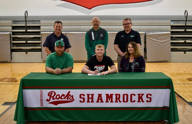 Barnesville High School senior Ayden Hannahs signed his letter of intent to continue his academic career and play baseball at Muskingum University, New Concord, in the Fall.