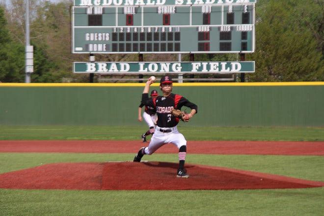 El Dorado's Caleb Winter throws in the first inning against Winfield on Thursday, April 29 at McDonald Stadium in El Dorado, Kansas