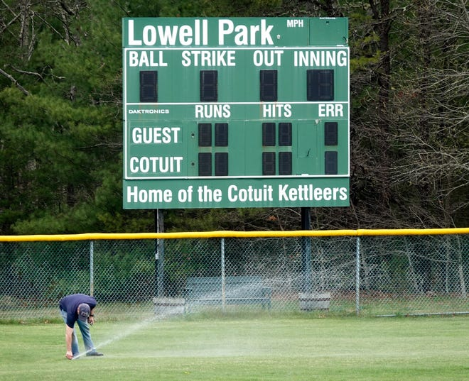 Field preparation was underway at Lowell Park in Cotuit on Friday afternoon. The Cape Cod Baseball League is getting ready for another season, scheduled to begin June 20.