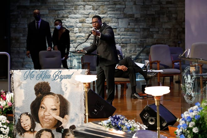 Principal Emmanuel Anthony speaks about presenting an honorary diploma to the family during the funeral services for Ma'Khia Bryant at the First Church of God in Columbus on Friday, April 30, 2021. Bryant, 16, was shot and killed by a Columbus Police officer on April 20 during an altercation at her foster home on the Southeast Side.