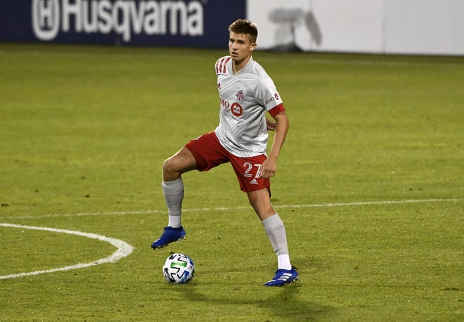Toronto FC midfielder Liam Fraser, seen in a game against the Montreal Impact in August 2020, will soon be a member of the Crew.