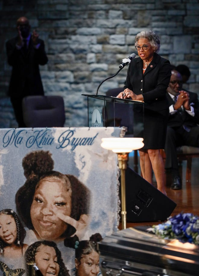 Congresswoman Joyce Beatty delivers remarks during the funeral services for MaKhia Bryant at the First Church of God in Columbus on Friday April 30 2021 Bryant 16 was shot and killed by a Columbus Police officer on April 20 during an altercation at her foster home on the Southeast Side
