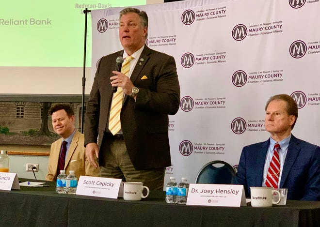 From left, Reps. Michael Curcio, , R-Dickson, and Scott Cepicky, R-Culleoka, along with Sen. Joey Hensley, R-Hohenwald, speak during the annual State Eggs & Issues panel Friday at The Memorial Building in Columbia.